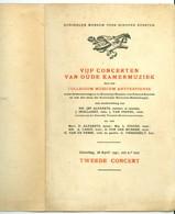 Vijf Concerten Van Oude Kamermuziek Collegium Musicum Antverpiense 2e Concert 1941 Koninlijke Museum Voor Schone Kunsten - Programmi