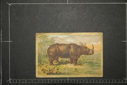 Chromos Et Images, Chromos Animaux  Le Rhinocéros Historique Au Verso Librairie D'education Nationale - Unclassified
