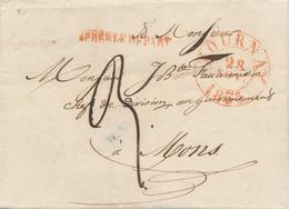 371/27 - Lettre Précurseur TOURNAY 1835 Vers MONS - Griffe APRES LE DEPART , Port 3 Décimesà L'encre - 1830-1849 (Belgique Indépendante)