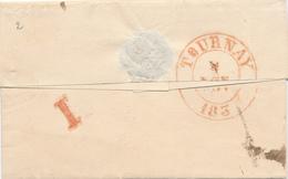 372/27 - Lettre Précurseur BRUXELLES 1839 Vers Procureur Du Roi à TOURNAY - Verso Chiffre De VACATION I - 1830-1849 (Belgique Indépendante)