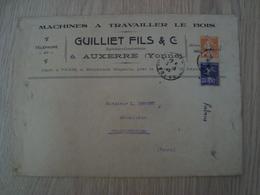 ENVELOPPE GUILLIET FILS & Cie MACHINES A TRAVAILLER LE BOIS AUXERRE - Marcophilie (Lettres)