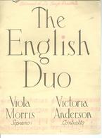 The English Duo Viola Morris Soprano Victoria Anderson Contralto Management : Bernard R. La Berge New York Vers 1950 - Programmi