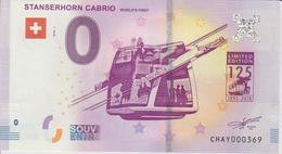 Billet Touristique 0 Euro Souvenir Suisse Stanserhorn Cabrio 2018-1 N°CHAY000369 - EURO