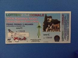 1996 BIGLIETTO LOTTERIA NAZIONALE ANTICHE REPUBBLICHE MARINARE CONCORSO IPPICO PIAZZA DI SIENA - Loterijbiljetten