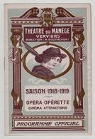 VERVIERS 1918/19 THEATRE DU MANEGE - Programmi