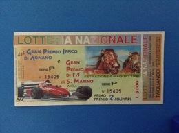 1996 BIGLIETTO LOTTERIA NAZIONALE GRAN PREMIO IPPICO AGNANO E F1 S. MARINO IMOLA - Loterijbiljetten