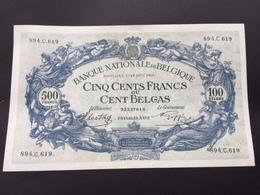 BELGIUM P109 500 FRANCS 01.08.1941 AUNC - [ 2] 1831-... : Belgian Kingdom