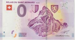 Billet Touristique 0 Euro Souvenir Suisse Relais Du Saint Bernard 2018-1 N°CHAM001554 - EURO