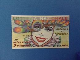 1992 BIGLIETTO LOTTERIA NAZIONALE DEL CARNEVALE DI VIAREGGIO E PUTIGNANO - Loterijbiljetten