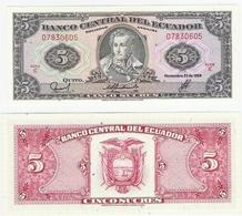 Ecuador  P. 113d  5 Sucres 22.11.1988 IC 07830605 UNC - Equateur