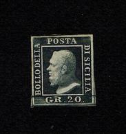 1859 OLD STATE ITALY SICILY 20 GRANA NOT USED OG CERTIFIED LUX STAMPS SASSONE 13 A POSITION PLATE 14 CATALOGUE $11.000 - Sicily