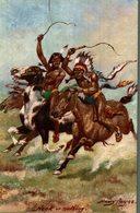THE WILD WEST USA TUCK POSTCARD NECK OR NOTHING HARRY PAYNE  INDIEN   INDIANS  Indios - Indios De América Del Norte