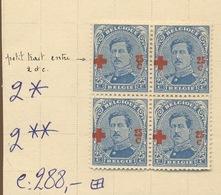156 25c  Variété Dans Bloc De 4. ++/+.   Cote 288,-comme Normaux - 1918 Croix-Rouge