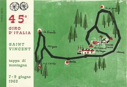 """1140"""" 45° GIRO D'ITALIA -SAINT VINCENT-TAPPA DI MONTAGNA-7_9 GIUGNO 1962 """" CARTOLINA POSTALE ORIG. NON SPEDITA - 6. 1946-.. Republic"""