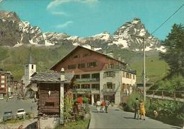 Cervinia Breuil (Aosta) Scorcio Panoramico, Campanile Chiesa, Negozi E Monte Cervino - Aosta