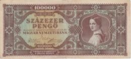 BILLETE DE HUNGRIA DE 100000 PENGO DEL AÑO 1945 (BANKNOTE) - Hungría
