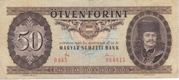 BILLETE DE HUNGRIA DE 50 FORINT DEL AÑO 1980 (BANKNOTE) - Hungría