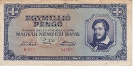 BILLETE DE HUNGRIA DE 1 MILLIO DE PENGO DEL AÑO 1945 (BANKNOTE) - Hungría