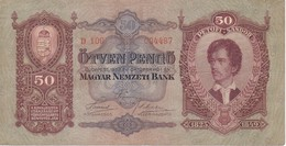 BILLETE DE HUNGRIA DE 50 PENGO DEL AÑO 1932 (BANKNOTE) - Hungría