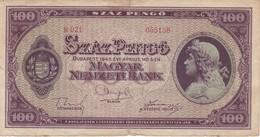 BILLETE DE HUNGRIA DE 100 PENGO DEL AÑO 1945 (BANKNOTE) - Hungría