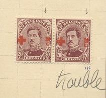 156 20c  154 En Paire * Dont Un Imprimé Trouble+.   Cote 30,-comme Normaux - 1918 Croix-Rouge