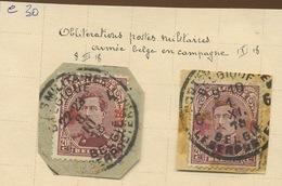 156 20c  154 Oblitérations Militaires  Cote 30,-E - 1918 Croix-Rouge
