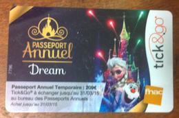 CARTE TICK&GO DISNEY PASSEPORT 2015 NO PHONECARD CARD NO CARTE A PUCE PAS TÉLÉCARTE GIFT CARD POUR COLLECTIONNEUR - Disney