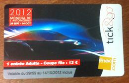 CARTE TICK&GO MONDIAL DE L'AUTO 2012 VOITURE NO PHONECARD NO CARTE A PUCE PAS TÉLÉCARTE GIFT CARD POUR COLLECTIONNEUR - Cartes Cadeaux