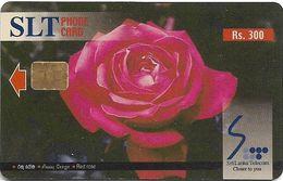 Sri Lanka - SLT - Red Rose Flower - 300₨, No Serial - Sri Lanka (Ceylon)