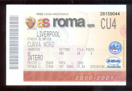 Football Ticket AS ROMA Vs LIVERPOOL 15. 02. 2001. - Match Tickets