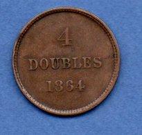 Guernesey -  4 Doubles 1864  -  Km# 5  -  état  TTB - Guernesey