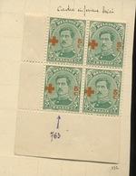 152  5c Croix Rouge  153  Neufs  ** Et *  . Dépôt 1918. Avec Variété Dans Le Cadre, Non Cotée Dans Le COB - 1918 Red Cross
