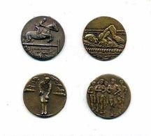 No Pins - Lot 4 Médailles Sport : Pétanque, Natation, Course à Pied, Hippisme - Badges