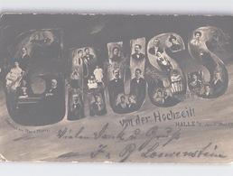 GRUSS Von Der Hochzeit HALLE 3. Mai 1904 Foto-AK + DUPLEX-Stempel Kreisstegstempel Mit Gitterbogen Oben Und Unten - Halle (Saale)