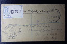 Palestine: Reg. Cover 23-12-1918  EEF Gen. Headquarters Mount Carmel Haifa ,  UK Fieldpost APO GM 1 - Palestina