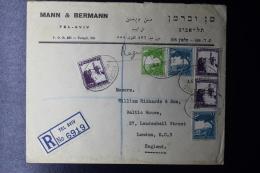 Palestine: 1937 Registered Commercial Cover Tel Aviv -> London 3 Color Franking - Palestine