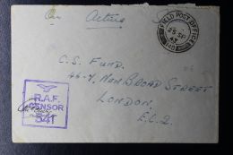 Palestine: 1943 Cover Royal Air Force Ramleh  P/mk. No 148  RAF Censored - Palestina