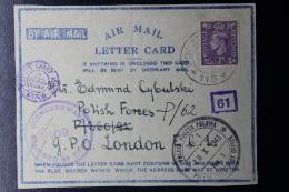 Palestine: 1943 Front Of Letter Card, Rehoboth, Polish Field Postoffice POCZTA POLOWA  Polish FPO 115 - Palestine