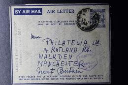 Palestine: 1945 Air Letter Jerusalem, Double Ring Cancels  Civilian Censorship - Palestina