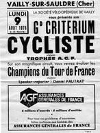 -- VAILLY Sur SAULDRE (Cher) - GRAND CRITERIM CYCLISTE Avec Les CHAMPIONS Du TOUR De FRANCE -- - Programmi