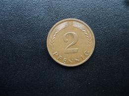 RÉPUBLIQUE FÉDÉRALE ALLEMANDE : 2 PFENNIG   1959 D    KM 106     SUP 55 - [ 7] 1949-… : FRG - Fed. Rep. Germany