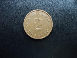 RÉPUBLIQUE FÉDÉRALE ALLEMANDE : 2 PFENNIG   1959 F    KM 106     TTB - [ 7] 1949-… : FRG - Fed. Rep. Germany