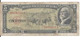 CUBA 5 PESOS 1958 VG+ P 91 A - Cuba