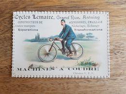 """Ancien Chromos Publicitaire """"Cycles Lemaire Antoing - Machines à Coudre"""" - Altri"""