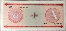 Billete Cuba. 1 Peso. Serie A. 1985. Certificado De Divisa. Banco Nacional De Cuba. Sin Circular - Cuba