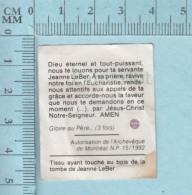 Reliquaire De Poche - Relique: : Tissu Ayant Touché Au Bois De La Tombe De Jeanne Leber - Religion & Esotérisme