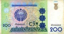 Ouzbékistan -Central Bank Of Uzbekistan Republic - 200 Sum (1997) - Série АН 3960023 - P.80 - Circulé -petite Fente Haut - Uzbekistán