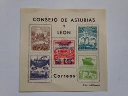 Hoja Bloque 5 Sellos Consejo De Asturias Y León. Guerra Civil Española. República. 1936-1939. Sin Circular. Original - Blokken & Velletjes