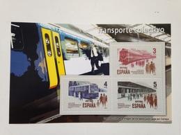 Hoja Bloque 3 Sellos Transporte Colectivo Tren. España. Sin Circular. Reproducción Actual De Los Sellos Autorizada - Blocs & Hojas