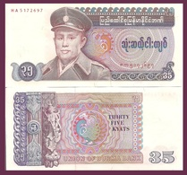 Burma P63, 35 Kyat, Gen San / Mythical Dancer, Peacock - Mystical Number! 1986 - Myanmar